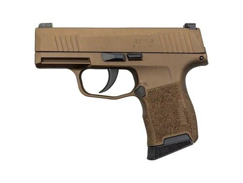 "Sig P365 Burnt Bronze 9mm, 3"" Barrel, Sig XRay3 Night Sights, 10rd Mag"