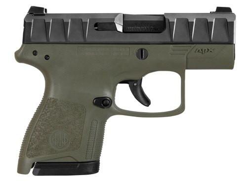 "Beretta APX Carry 9mm, 3.07"" Barrel, Black Slide, OD Green, 6rd / 8rd"
