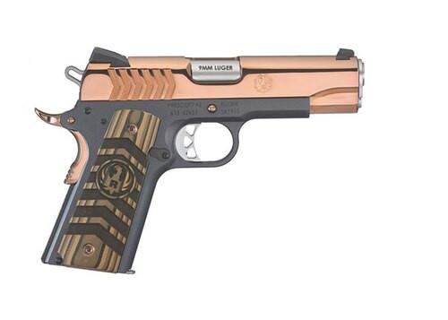 """Ruger SR1911 Commander 9mm, 4.25"""" Barrel, Black Nitride, Polished Rose Gold, 9rd Mag"""