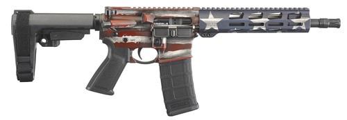 "Ruger AR-556 AR-15 Pistol 5.56/.223, 10.5"" Barrel, SBA3 Pistol Brace, M-LOK, American Flag, 30rd"