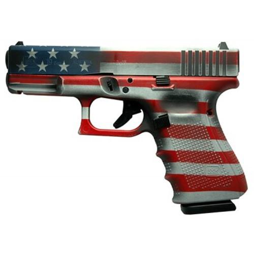 "Glock G19 Gen4 9mm, 4"" Barrel, American Flag, 15rd"