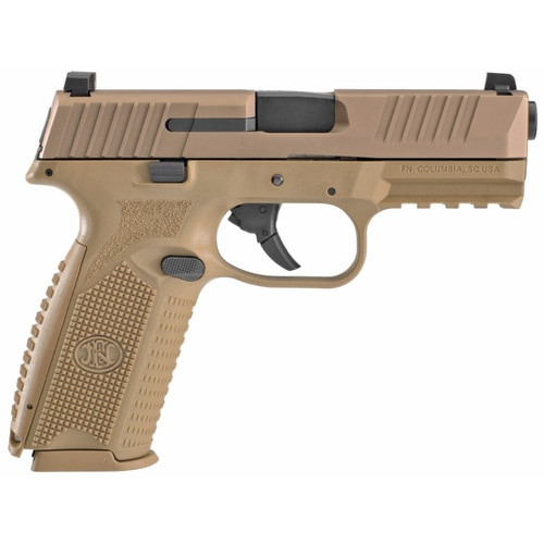 """FN , FN 509 Striker Fired, Full Size 9mm, 4"""" Barrel, Polymer Frame, Flat Dark Earth, 3 Dot Sights, Non-Manual Safety, 2x17rd Mags"""