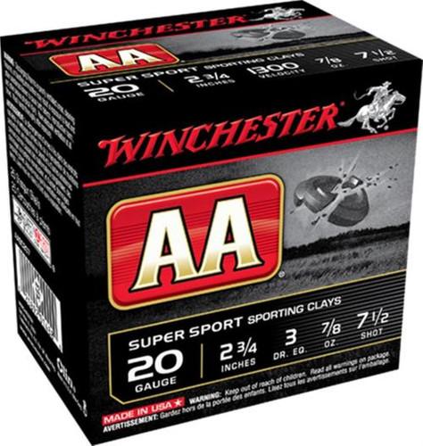 """Winchester AA TrAAcker Orange 20 Ga, 2.75"""", 7.5 shot, 7/8oz, 25rd/Box"""