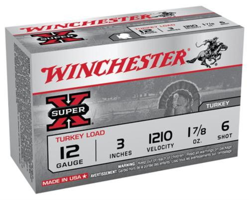 "Winchester Super-X Turkey 12 Ga, 3"", 1210 FPS, 1.875oz, 6 Shot Copper Plated, 10rd/Box"