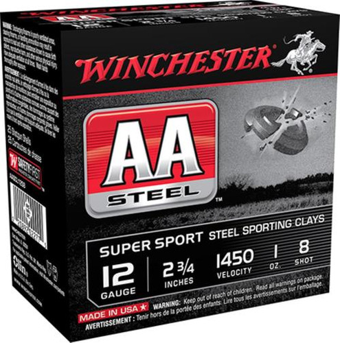 "Winchester AA Steel 12 Ga, #8 Steel Shot, 2-3/4"", 1 oz, 25rd/Box"