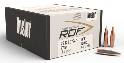 Nosler RDF Match Reloading Bullets 22 Caliber 77gr, Hollow Point Boat Tail 100 Box