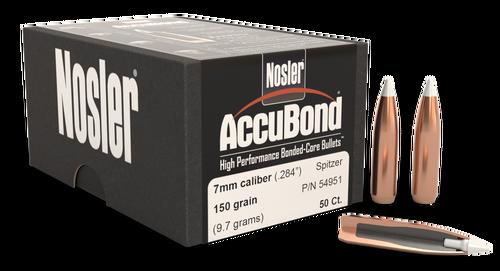 Nosler AccuBond Reloading Bullets 7mm .284 150gr, Spitzer Boat Tail, 50rd/Box