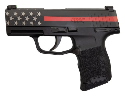 "Sig P365 9mm, 3"" Barrel, XRay3 Night Sights, Manual Safety, Red Line Firefighter, 10rd"