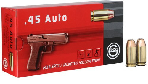 Geco Pistol 45 ACP 230gr, Jacketed Hollow Point, 50rd Box