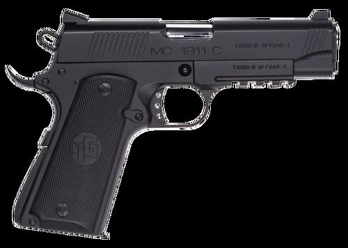 "EAA Girsan MC1911 Officer 9mm, 3.4"" Barrel, Black Steel Black Grip, 7rd"