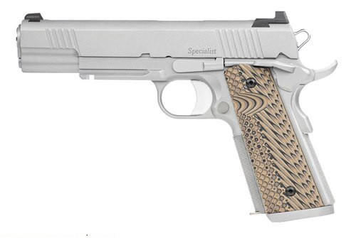 """Dan Wesson Specialist, Semi-automatic, 1911, Full Size, 45 ACP, 5"""" Barrel, Steel Frame, Stainless Finish, G10 Grips, 8Rd, 1913 Rail, Ambidextrous Safety, Night Sights"""
