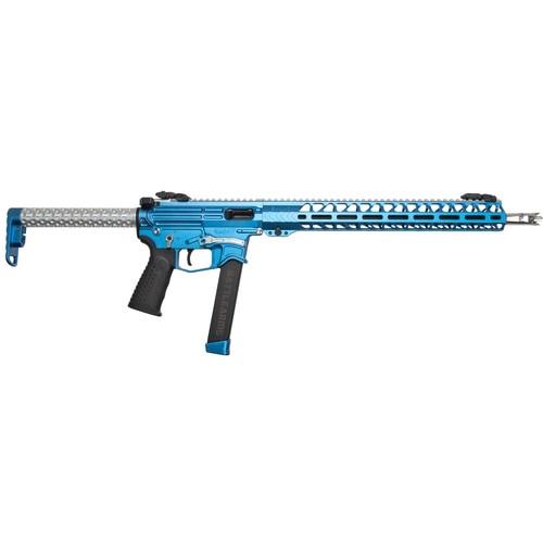"Battle Arms Development PCC Rifle 9MM 16"" Barrel, Sonic Blue/Silver Finish, 15""  MLOK Handguard, 33rd Glock Mag"