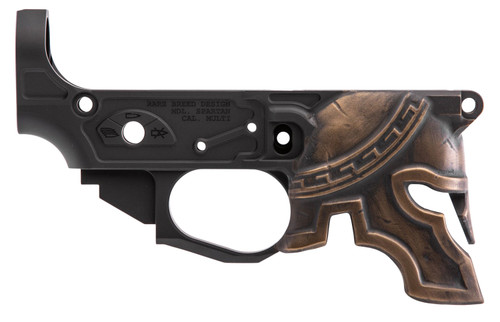 Spikes Rare Breed Spartan Stripped Lower, Multi-Cal, Black, Painted Bronze Helmet