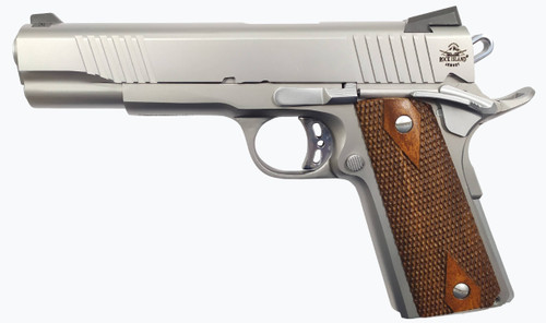 """Armscor Rock FS Tactical SS, Semi-automatic, Full Size 1911, 45ACP, 5"""" Barrel, Steel Frame, Stainless Finish, Wood Grips, Ambidextrous Safety, Fixed Sights, 8Rd, 1 Magazine"""