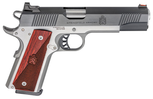 """Springfield Ronin Operator 1911, Full Size, 45ACP 5"""" Barrel, Blued, SS Frame, Fiber Optic Front Sight Tactical White Dot Rear, 8rd Mag"""
