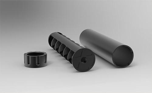 """Texas Silencer Company Scoundrel .22 Rimfire Silencer, 5.2"""" Length, 1/2x28, Black"""