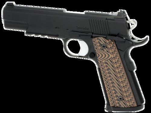 "Dan Wesson Specialist Commander 1911 45 ACP 4.25"" 8+1 Black Stainless Steel Black/Brown G10 Grip"