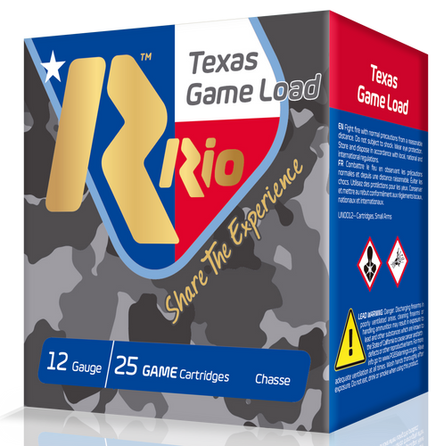 "RIO Top Ga,me Texas Ga,me Load Standard Velocity 12 Ga, 2.75"", 1-1/4oz, 8 Shot, 25rd Box"