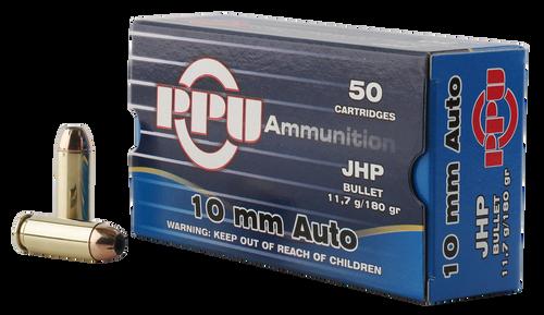 PPU Handgun 10mm ACP180gr, Jacketed Hollow Point, 50rd Box