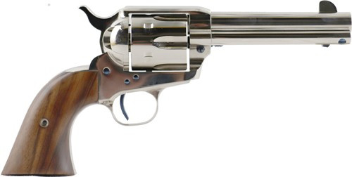 """Standard Mfg Single Action Revolver 45 Colt 4.75"""" Barrel, Nickel Plated, Walnut 2 Pc Grip"""