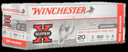 "Winchester Super-X Xpert High Velocity 20 Ga, 3.50"", 7/8oz, 4 Shot, 100rd Box (Value Pack)"