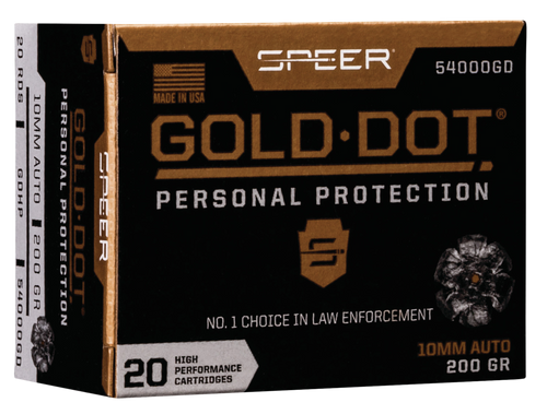 Speer Ammo Gold Dot Personal Protection 10mm Auto 200gr, Hollow Point, 20rd Box