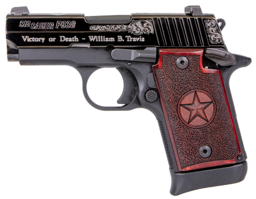 """Sig P938 Texas Engraved Silver 9mm 3""""Barrel, Black, Silver Engraving Slide, Stainless, Redwood Grip, 6rd-7rd Mags"""