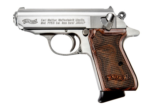 """Walther PPK/S .380 ACP, 3.3"""" Barrel, Stainless, Walnut, 7rd"""