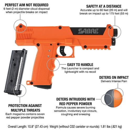 Sabre Pepper Spray Launcher Home Defense Kit, Orange, 7rd