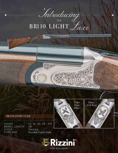 "Rizzini BR110 Light Luxe 12g O/U, 28"" Barrel, Pistol Grip Stock, Rounded English Style Fore-end"