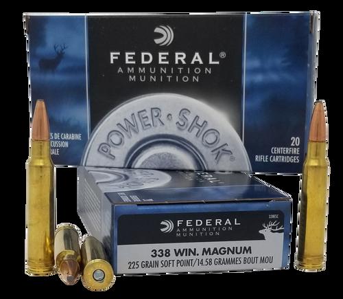 Federal Power-Shok 338 Win Mag 225gr, Soft Point, 20rd Box