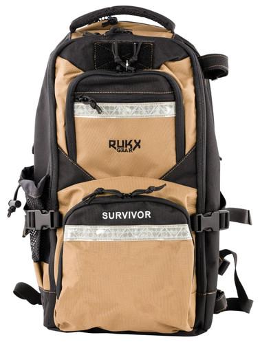 ATI RUKX Gear Survivor Backpack, Stores ATI Nomad In Rear Pocket, Tan