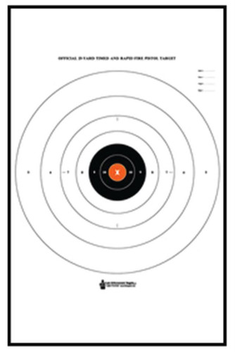 "Looper Law Enforcement B-8 25 Yard Timed and Rapid Fire Target Black Bullseye Orange Center 21x24"", 100/Pack"