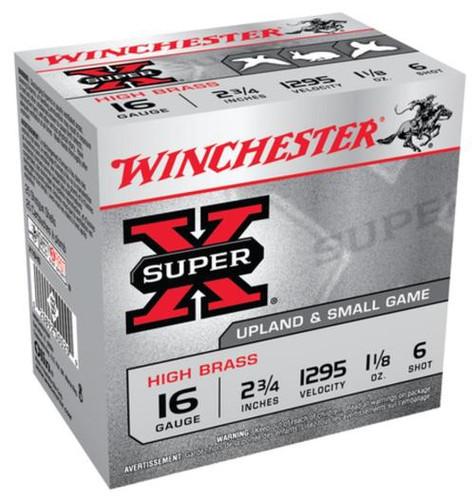 "Winchester Super-X High Brass 16 ga 2.75"" 1-1/8 oz 6 Shot 25Box/10Case"
