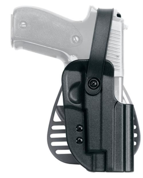 Uncle Mike's Kydex Paddle Holster 21, Thumb Strap, Glock 17/19/22/23, Black Kydex, Right Hand