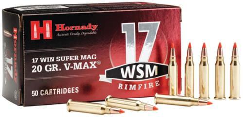 Hornady 17 Win Super Mag .17 Winchester Super Magnum 20gr, V-Max Bullet 50rd Box