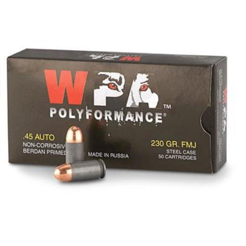 Wolf 45 ACP, 230 Gr, FMJ, Steel Case, 500rd/Case