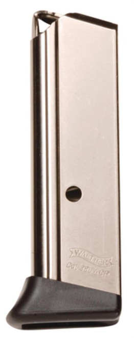 Walther PPK 380ACP Magazine, Finger Rest, Nickel, 6rd