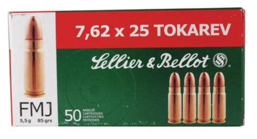 Sellier and Bellot 762X25 Tokarev 85 FMJ 50Rd/Box