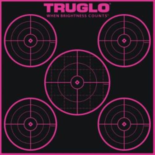 Truglo 6 Pack 5 Circle Targets Hi-Viz 1/4 Measurments Self-Adhesive Pink