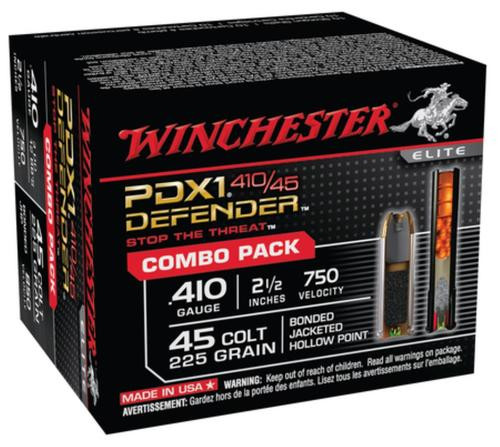 Winchester PDX1 Defender Combo Pack 10 Rounds .410 Gauge 2.5 Inch 3 Discs 12 BBs 20rd Box .45 Colt 225 Grain