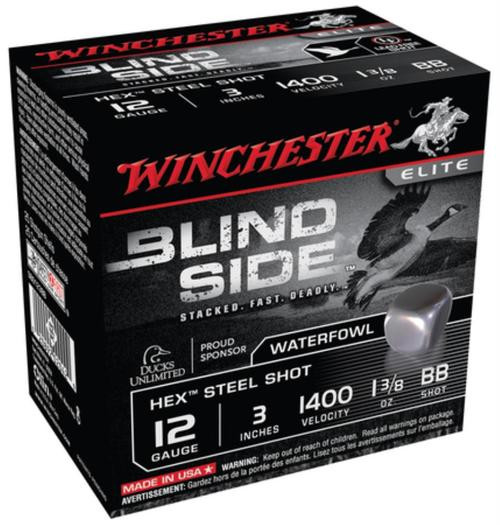 Winchester Blind Side Steel Hex Magnum Waterfowl 12 Gauge, 3 Inch, 1400 FPS, 1.375 Ounce, BB, 25rd/Box