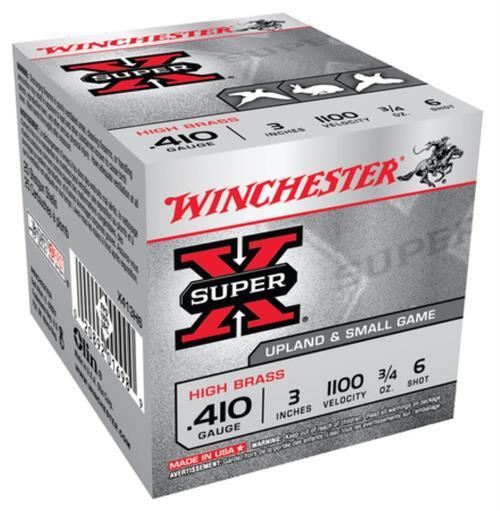 """Winchester Super-X High Brass .410 Ga, 3"""", 1100 FPS, .75oz, 6 Shot, 25rd/Box"""