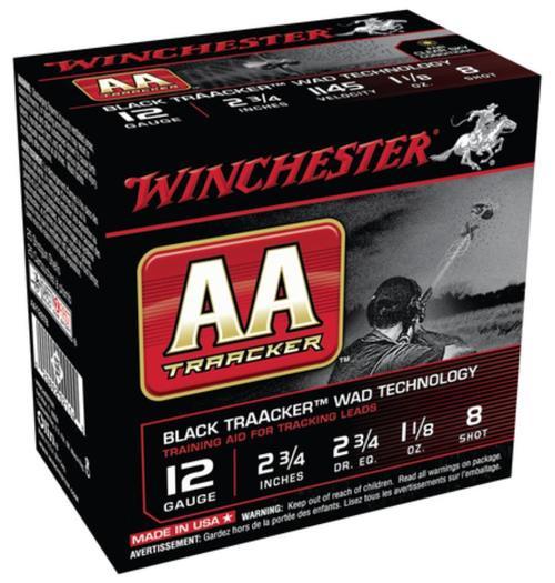 "Winchester AA TrAAcker 12 Ga, 2.75"", 1145 FPS, 1.125oz, 8 Shot, Black Wad, 25rd/Box"