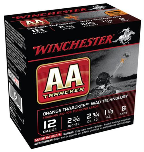 "Winchester AA TrAAcker 12 Ga, 2.75"", 1145 FPS, 1.125oz, 8 Shot, Orange Wad, 25rd/Box"