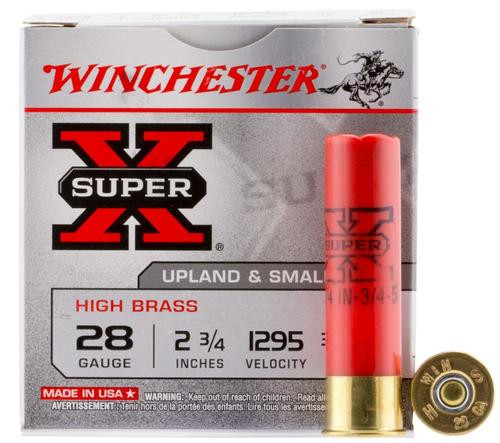 "Winchester Super-X High Brass 28 Ga, 2.75"", 1295 FPS, .75oz, 5 Shot, 25rd/Box"