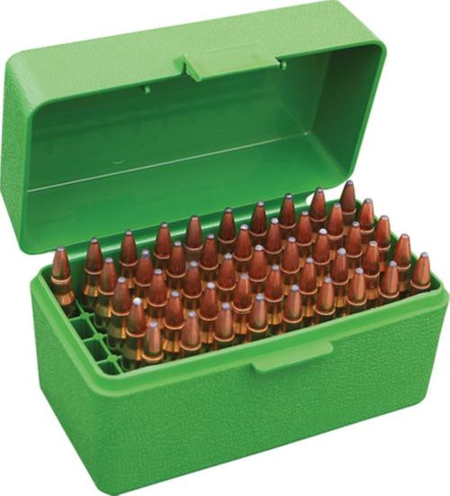 MTM Case Gard Case-Gard 50 Rifle Ammo Boxes .222 & .222 Magnum Mechanical Hinge Green