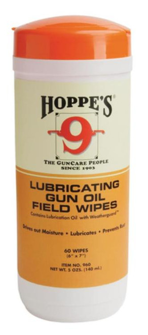 Hoppe's Large Lubricating Gun Oil Field Wipes 6x7 Inches 60 Count