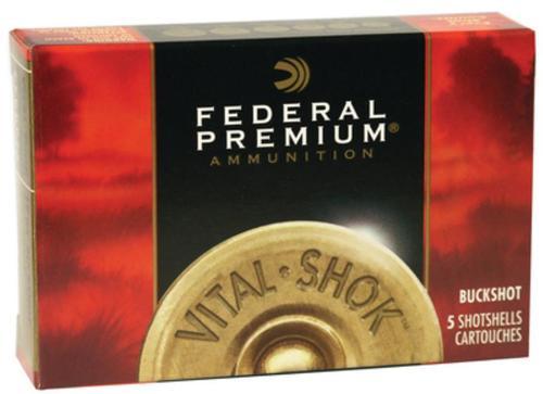 "Federal Premium, Vital Shok, 12 Ga 3"", 3 Buck, 1 1/2oz, Buckshot, 10 Pellets, 5rd Box"