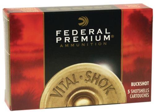 "Federal Premium, Vital Shok, 12 Ga 3.5"", 00 Buck, 2 1/4oz, Buckshot, 18 Pellets, 5rd Box"